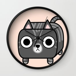 Cat Loaf - Grey Tabby Kitty Wall Clock