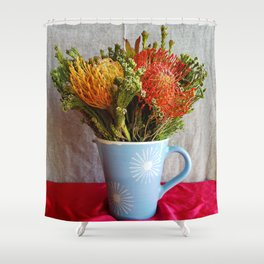 Flowers in a vase - with Pincushion Protea Shower Curtain