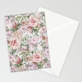 Blush pink lilac white lace country floral Stationery Cards