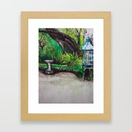 Birdcage in the California garden Framed Art Print