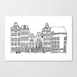 Amsterdam canal houses drawing Canvas Print