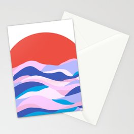 lucia, orange sunset ocean waves Stationery Cards