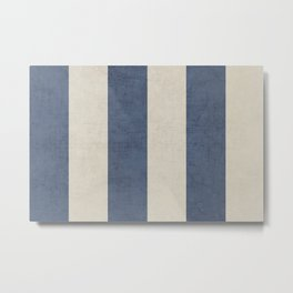 vintage dark blue stripes Metal Print