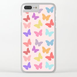 Multicoloured Butterflies on Pink Clear iPhone Case