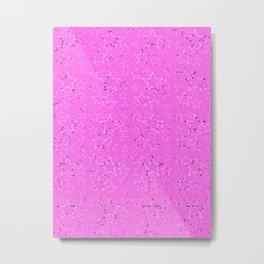 Stars Gradient Pink Black White Metal Print