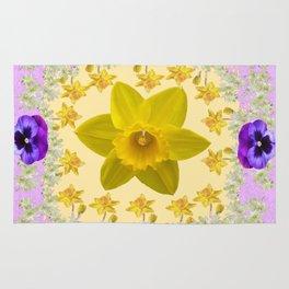 PURPLE PANSIES & DAFFODILS FLOWERS GARDEN MODERN ART Rug