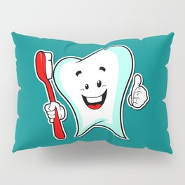Dental Care happy Tooth with Toothbush Pillow Sham