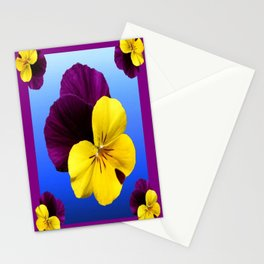 Decorative Shaded Blur Yellow-Purple Violas Art Stationery Cards