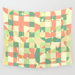 Checkered green and salmon Wall Tapestry