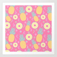pinapple Art Prints featuring Pink Pinapple by KattyB