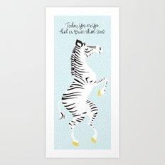 Blue Zebra (Dr. Seuss quote) Left Art Print