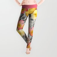 collage Leggings featuring Collage of Poppies and Pattern by micklyn