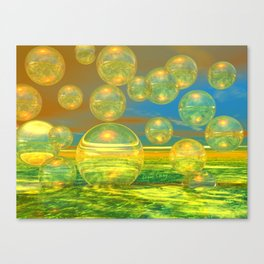 Golden Days, Abstract Yellow and Azure Tranquility Canvas Print
