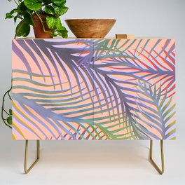 Palm Leaves Pattern - Purple, Peach, Blue Credenza