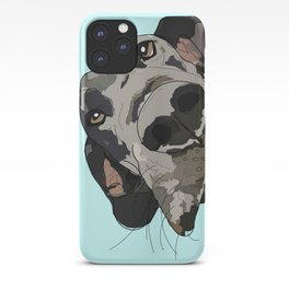 Great Dane in your face (teal) iPhone Case