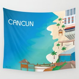 Cancun, Mexico - Skyline Illustration by Loose Petals Wall Tapestry