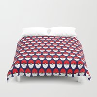 pokeball Duvet Covers featuring Pokeball Pattern by Jennifer Agu