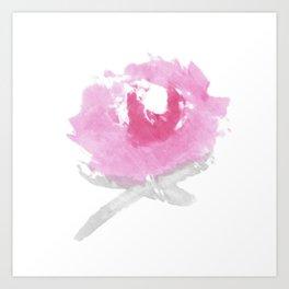 Pink Peony Watercolor Print Art Print