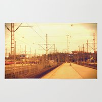 finland Area & Throw Rugs featuring helsinki (finland) - railway station by aune