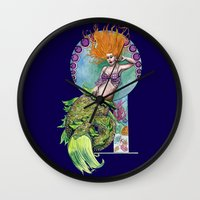 pinup Wall Clocks featuring Mermaid Pinup by Theresa Lammon