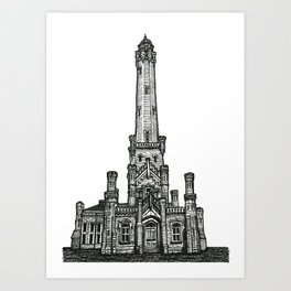 Triptych 2 - Water Tower - Original Drawing Art Print