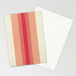 Stripes: Sweetcorn Cream, Fiesta Red, Pink Peacock Stationery Cards