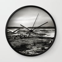 scotland Wall Clocks featuring Cramond, Scotland by Mara Brioni Art Photography
