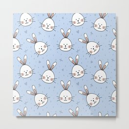 Easter pattern with little cute bunnies faces Metal Print