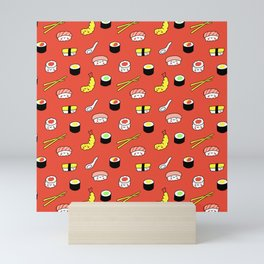 Kawaii Sushi Pattern (red) Mini Art Print