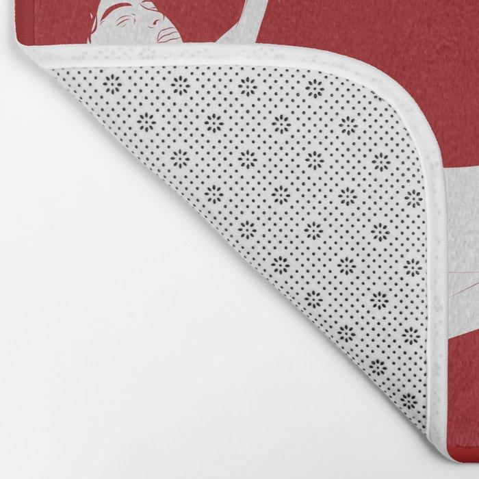 Merman - Red & White - Mermay 2019 Bath Mat