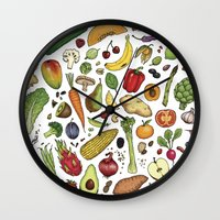 food Wall Clocks featuring Food by Sam Magee