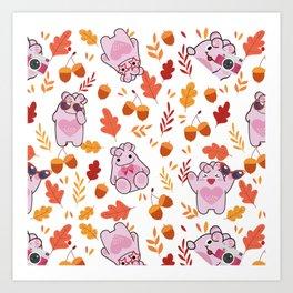 Sakura Fall Pattern Art Print