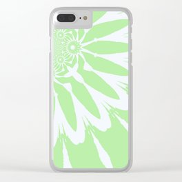The Modern Flower Pastel Green & White Clear iPhone Case