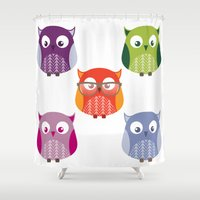 owls Shower Curtains featuring Owls by Lily Art