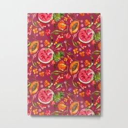 Tropical Fruit Festival in Red | Frutas Tropicales en Rojo Metal Print
