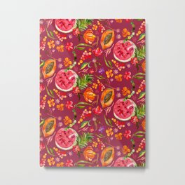 Tropical Fruit Festival in Red | Frutas Tropicales en Rojo Metal Print