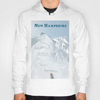 skiing Hoodies featuring New Hampshire Retro Tourism - Skiing by Eve Weiner