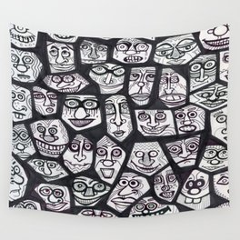 Black & White Faces  Wall Tapestry