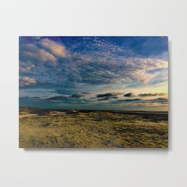 Beach with Swirling Clouds Metal Print