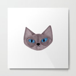 Grey Cat Head with Blue Eyes Metal Print