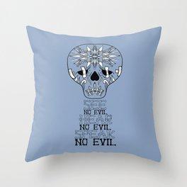 Cute Skull See no Evil Throw Pillow