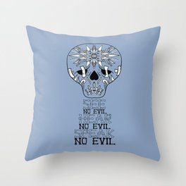 Cute Skull See no Evil Throw Pillow