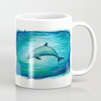 psychadelic Mugs featuring Indigo Lagoon ~ Dolphin Watercolor by Amber Marine