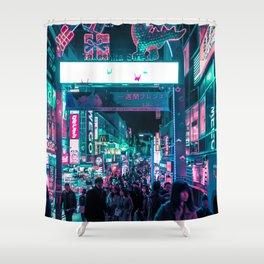 Tokyo's Neon-Lit Takeshita Street Shower Curtain
