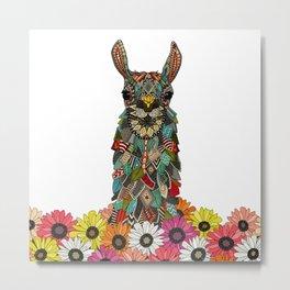 llama daisy love white Metal Print