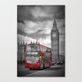 LONDON Houses of Parliament & Red Bus Canvas Print