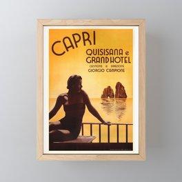 Italy 1938 Capri & The Grand Hotel Quisisana Advertising Poster Framed Mini Art Print