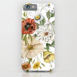 Wildflower Bouquet on White iPhone Case