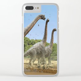 Dinosaurs walking on the river Clear iPhone Case