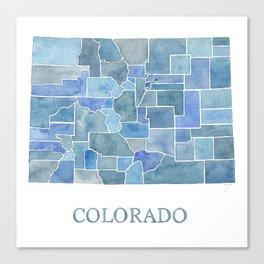 Colorado Counties BluePrint Watercolor Map Canvas Print
